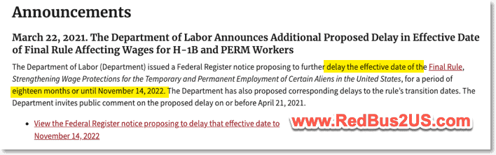 US Dept of Labor News Announcement on Delays