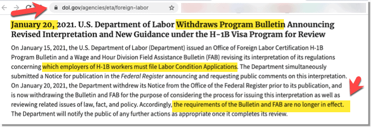 US Dept of Labor - Withdraws guidance on H1B LCA