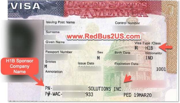 H1B Visa Sample with Sponsor Name