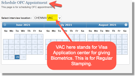 Schedule OFC Appointment with VAC at end of City name Dropdown