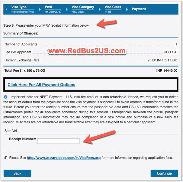 US Visa Appointment Fee Payment Option for Dropbox Stamping CGI Federal Website