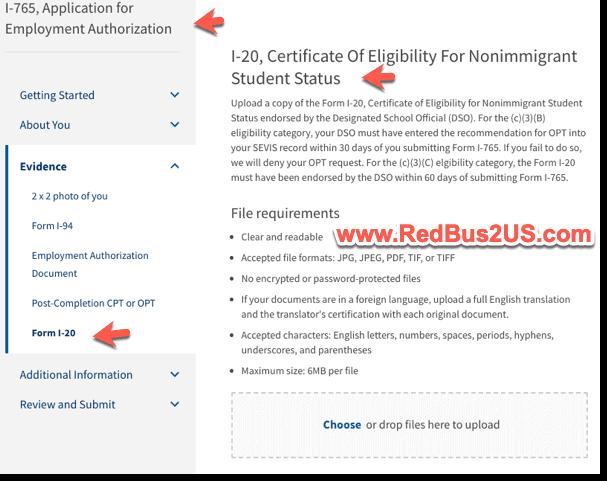 Form I20 for OPT application online