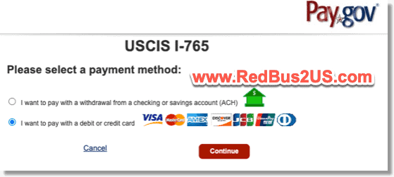 Payment Options Pay.gov for I765 OPT application online