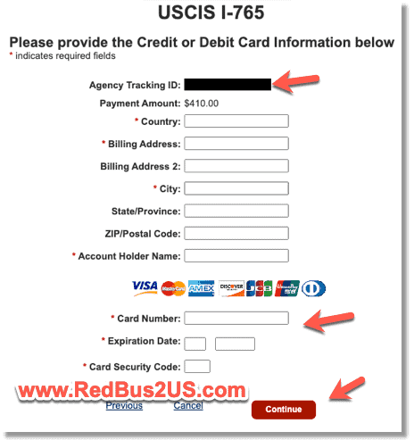 USCIS I765 Payment option for Credit Card details to fill Pay.gov