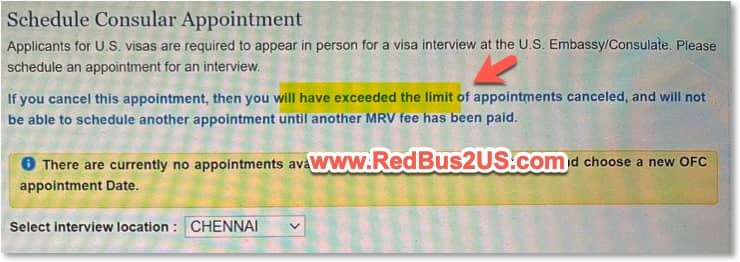 If you cancel this appointment - exceeded limit of appointments confirmation