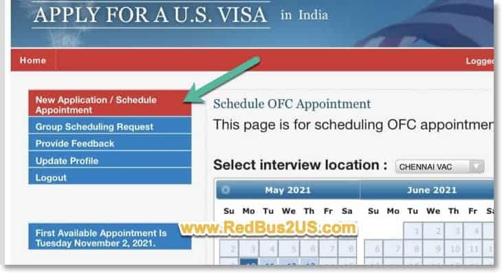 New Appointment - Schedule Appointment Screen