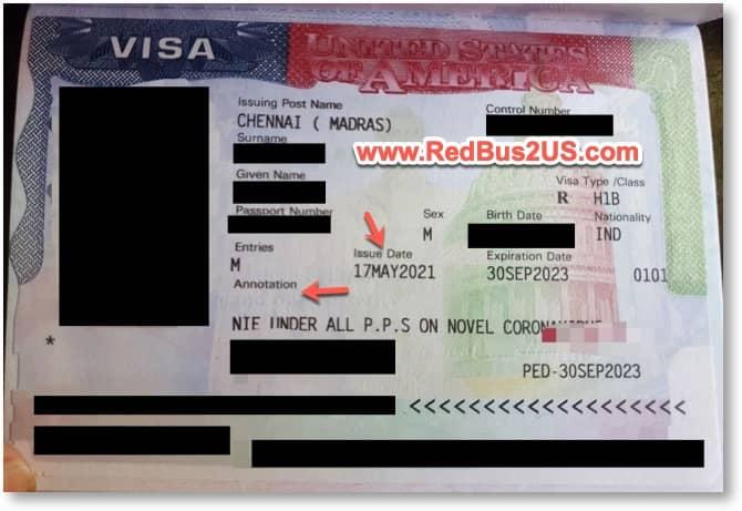 Sample US Visa Stamping in Passport - 2021