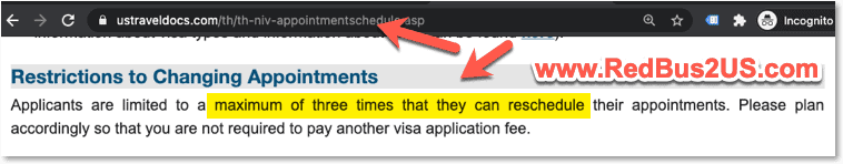 Thailand reschedule US Visa Appointment - how many times