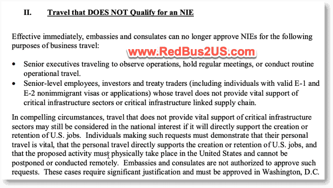Travel that does not count towards NIE for Senior Managers and others