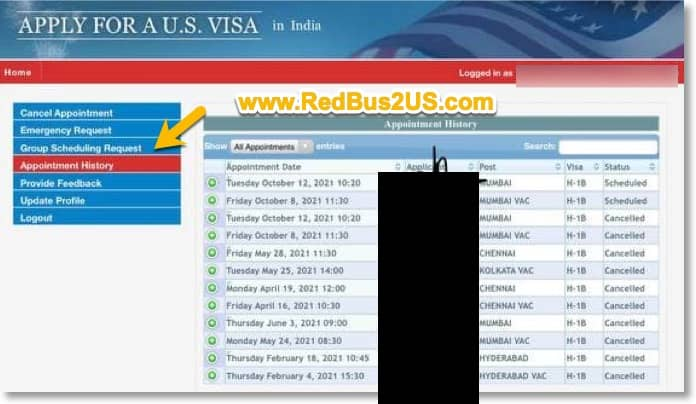 US Visa Appointment Rescheduling History