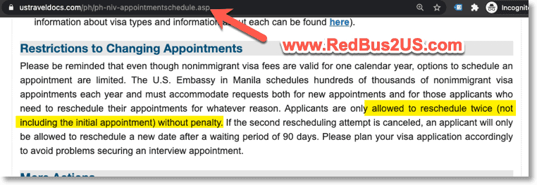 US Visa appointment reschedule in Philippines how many times