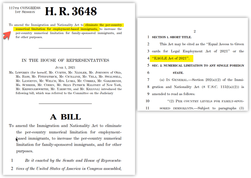 HR 3648 Bill - EAGLE Act of 2021 - General Info