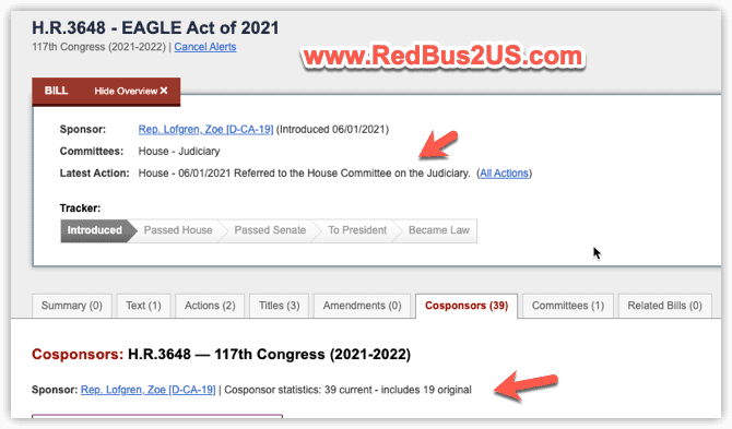 HR 3648 - EAGLE Act of 2021 Current Status