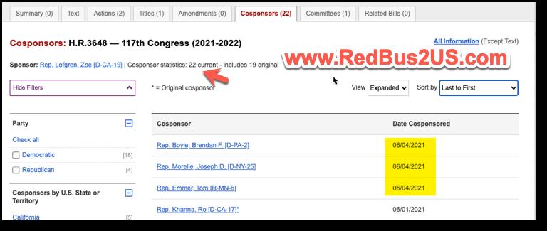 New co-sponsors for Bill HR 3648 - June 4-2021