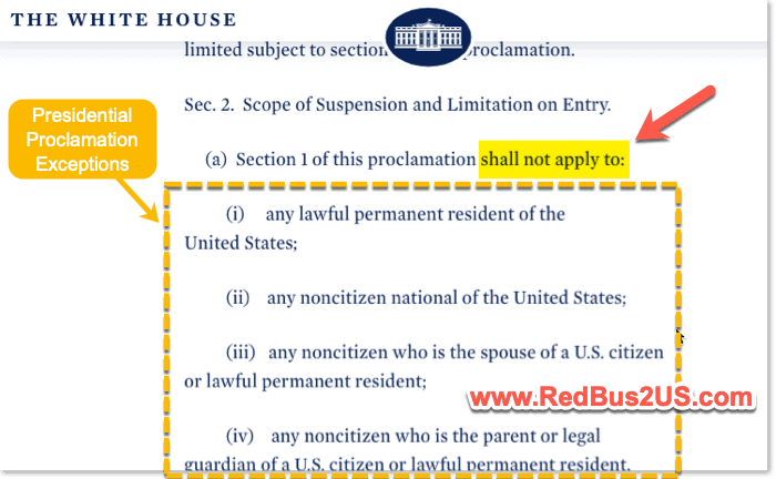 Presidential Proclamation Exceptions - WhiteHouse Website PP 10199