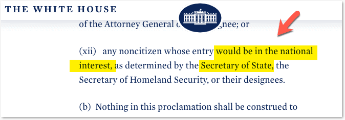 Proclamation clause on National interest exception by secretary of state