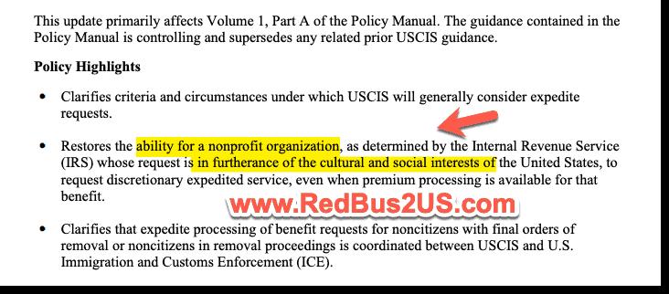 USCIS Change to Expedite Criteria policy