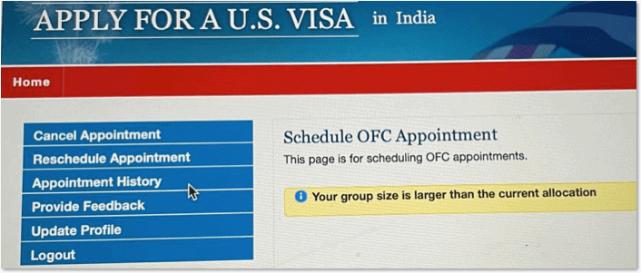 your group size is larger than the current allocation - OFC Appointment