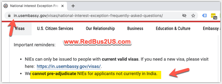 Guidance on Applying NIE by US Embassy India
