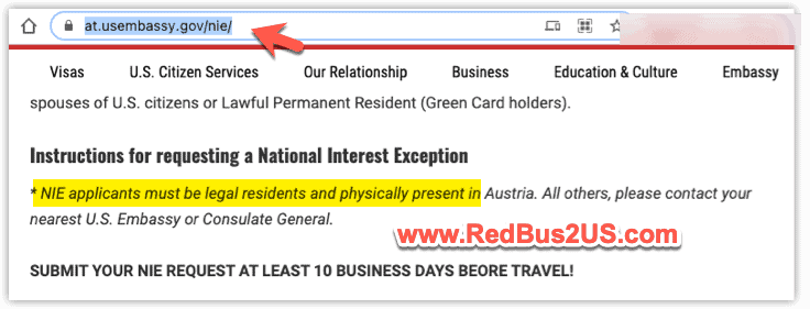 NIE Applicants instructions US Consulate Austria