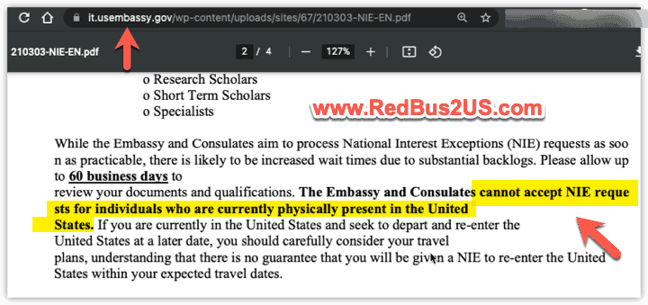 NIE request guidance by US Consulate in Italy
