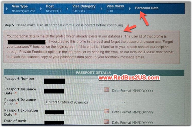 Your Personal Details match the profile which already exists