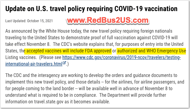 US Dept of State Guidance on Lifting Travel Ban
